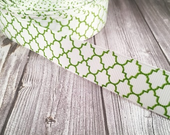"Green quatrefoil ribbon - Green and white - 7/8"" Grosgrain ribbon - Crafting ribbon - Hair bow supply - Ribbon yards - Craft supply"