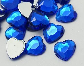 Blue rhinestones - Set of 20 - 18mm - Blue rhinestone - Heart rhinestone - Royal blue hearts - Wedding crafts - Hair bow centers - Heart gem