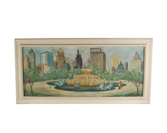 Large Mid-century Oil Painting Buckingham Fountain w Chicago Skyline signed