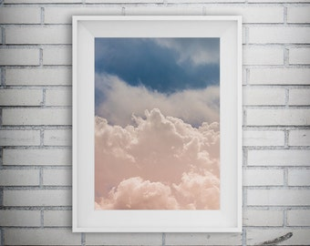 Nature Photography, Cloud Photo, Puffy Clouds, Pink Sky Photography, Wall Decor, Cloud Print, Home Decor, Printable Art, Digital Download