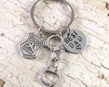 Policeman keychain, handcuff keychain, father gift, dad gift, police officer gift, retirement gift