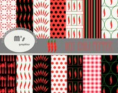 Red Hot Chili Pepper Digital Paper Pack. Oil Paint. Spoons Fork Knives . 35 backgrounds for menu, invitations, kitchen prints.