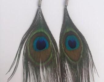 Peacok Feather Dangle Fishhook Earrings Handmade