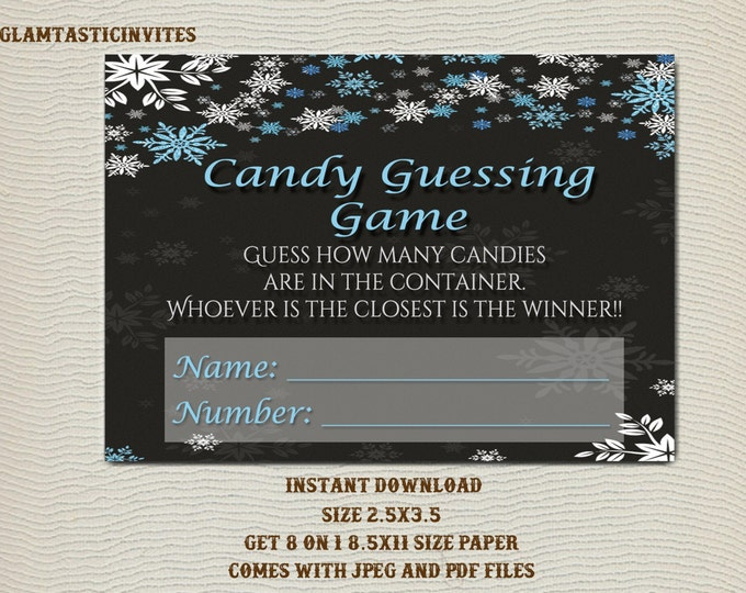 Candy Guessing Game, Candy Guess Game, Winter Baby Shower, Snowflake Baby Shower, Winter Candy Game, Snowflake Candy Game, Baby Shower Game