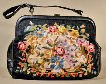 Vintage Black Multi Colored Embroidered/Leather Bag, Handbag, Evening Bag, Evening Purse, Lady Bag
