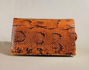Vintage Brown Snake Leather Bag, Shoulderbag, Shoulderpurse, Evening Bag