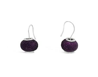 Purple Ball Earrings - Ball Drop Earrings - Purple Jewellery - Purple Dangle Earrings - Purple Earrings - Drop Dangle Earrings
