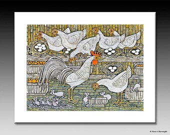 Chicken Coup Print with White Letterse