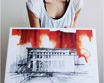 Hain Berghain Wall Decoration. Wall decor. Wall art print. Watercolour Ink Building architecture drawing.  Techno Club in Berlin Germany