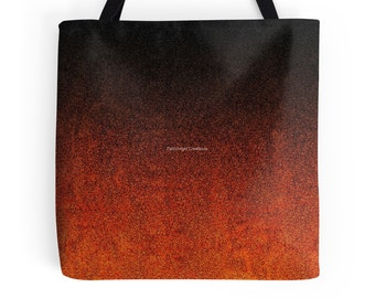 Orange and Black Glitter Gradient Tote Bag, 3 Sizes Available!
