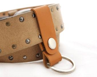 Leather keychain Belt Keychain Genuine Leather key holder Orange Leather key holder leather key case leather key chain Key fob