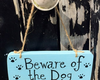 Reclaimed Wooden Sign 'Beware of the Dog'