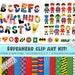 Superhero ClipArt Kit - Alphabet - Superhero Characters - Digital Paper - Icons - Great for invitations, decorations, scrapbooking & more!!