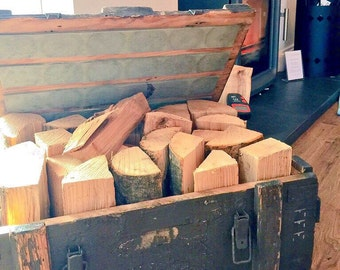 Log & Kindling storage in British Army Ammo boxes.