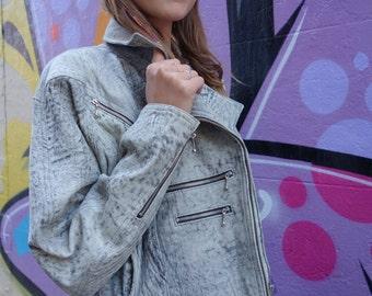 Vintage 80s Stonewash Grey Leather Bomber Jacket