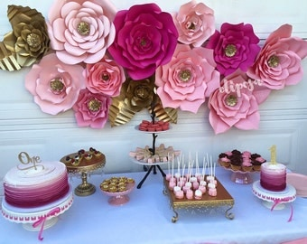 12 pc Paper Flowers, backdrop, candy buffet, decor, nursery,  Customize your colors!