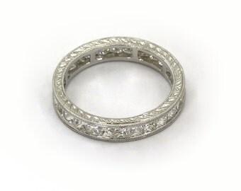 18k Diamond Eternity Ring Band White Gold 1.91 cts Princess
