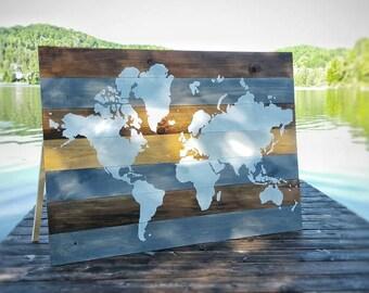 World Map on Wood   Wall Art   Wall Decor