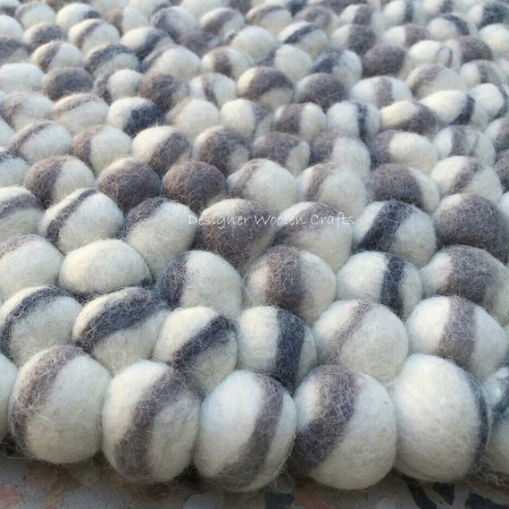 Handmade 100 Wool Felt Ball Rugs Pebble Natural Stone Style