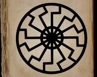 Schwarze Sonne Black Sun Digital Download Print, Printable Art, Vector