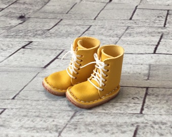 Real leather: miniature lace-up boots [Lemon] (for blythe)