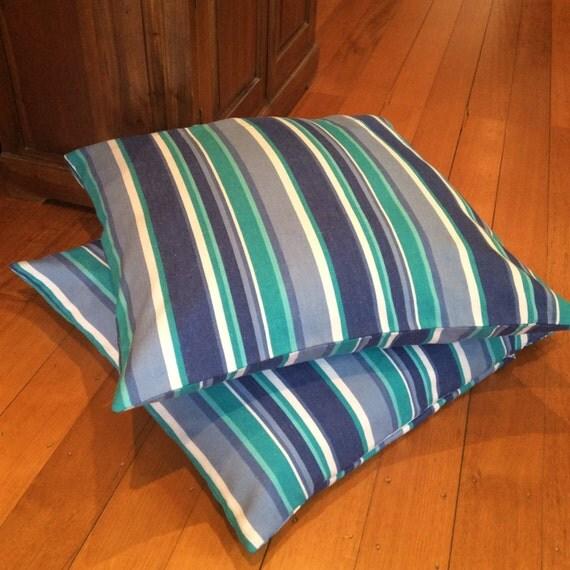 Floor Cushion, Aqua,Blue,White X-Large 69cm x 69cm, Striped Quality Hand Made