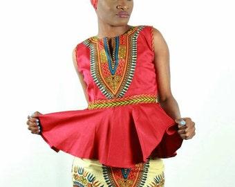 Ensemble top évasé noir mini jupe wax Addis-Abeba beige