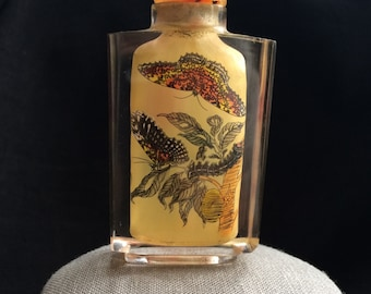 Chinese Vintage Snuff Opium Footed Bottle Jade Top Butterfly Moth Crystal Perfume Reverse Inside Painting Glass
