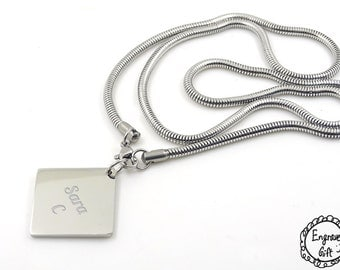 Personalized Engrave Women Square Disc Plate Necklace 316L Stainless Steel. Real Handwriting, Drawing, Logo, Text.