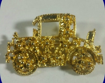 Gold-plated over Brass Vintage Automobile Brooch / Pin
