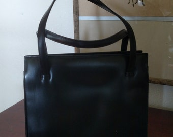 Beautiful Vintage Calf Leather Purse/ Made in France/ Thalhimers Department Store/ Richmond VA/ Queen's Purse/ Black/ Mad Men Era