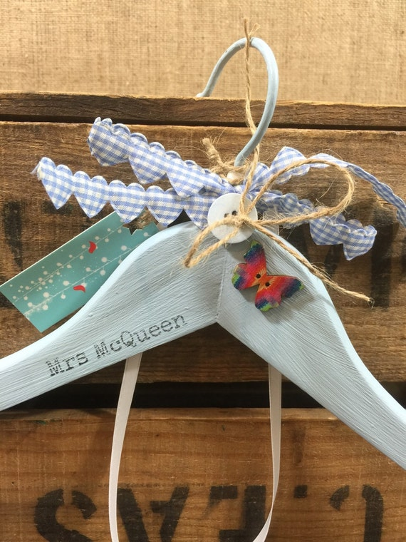Something Blue Gift - Custom Wedding Hanger - Decorative Wedding Hanger - Custom Mrs Name and Date Wedding Gift - Bridal Shower Gift