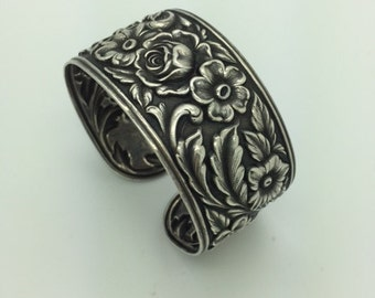 Sterling Silver High Relief Floral Cuff Bracelet