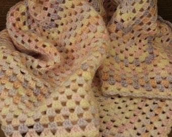 Crochet Baby Blanket - Pink Blue marbled