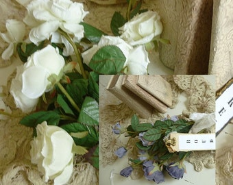 Two beautiful long-stemmed bouquets of silk roses, silk flowers, fabric flowers, 70s....CHARMANT!