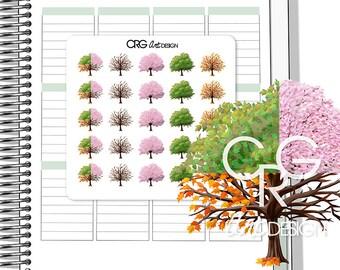 Season Tree Stickers  | Planner Erin Condren Plum Planner Filofax Sticker