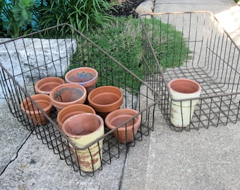 Vintage Pair of Large Wire Metal Baskets~Two Metal Wire Industrial Baskets~Entryway Storage Organization~Rustic Shabby Chic She Shed Decor