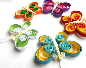 Quilled Home Decor - Butterfly Ornament - Butterfly Decor - Butterfly Home Decor - Party favor - Paper Quilling, set of 5 pieces