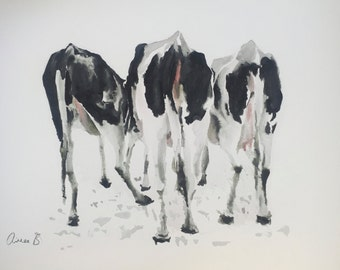 "Three Cows Bottoms - ORIGINAL WATERCOLOUR PAINTING 11"" x 17"" (28cm x 43cm) - Free Worldwide Shipping"