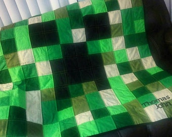 Minecraft Creeper Quilt with name