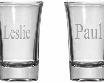 Personalized Shot Glass Set of Four with Names
