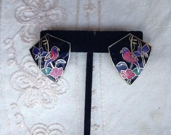 Vintage enamel earrings, cloisonne enamel earrings, black cloisonne earrings, earrings enamel, pierced cloisonne earrings, E43