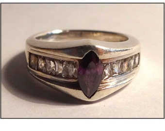VINTAGE RING SILVER Sterling & Amethyst joint by amethysts and silver Art Deco style.