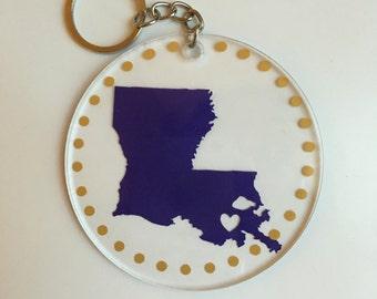 LSU Keychain- LSU Purple & Gold