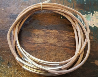 Natural Leather Cord Bangles, Set of 6, Leather Bangles with Silver Tubes, Genuine Leather