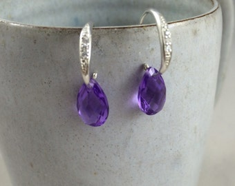 Sterling silver delicate earrings purple and clear crystals 925 dangling