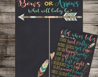 Bows or Arrows Gender Reveal Vote and Old Wives Tales, Bows or Arrows Reveal, Feather and Arrows, Tribal Reveal - Printable Invitation
