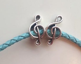 2 Silver Tone Music Notes Beads European Bead Charm Fits European Charm Bracelets - 13W