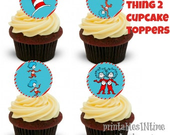 Thing 1 Thing 2 Cupcake Toppers- Dr Seuss- Favor Tags- Party circles- instant download