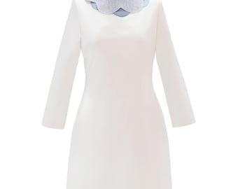 Unique Cloud collar cream color dress